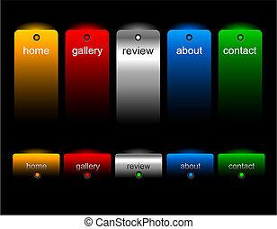 editable, sitio web, botones