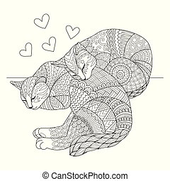 Editable stroke width lines. Cute two cats sleeping for cards, t shirt design, adult coloring book, coloring page and print on other things. Vector illustration