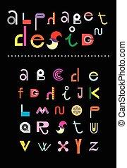 Alphabet Design - Editable vector alphabet. Colorful letters...