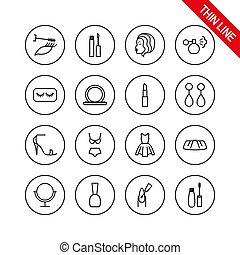 editable, vector., icons., 薄くなりなさい, ライン。, 美しさ, 化粧品