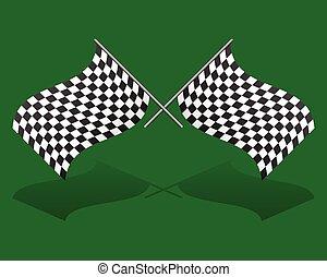 editable, vettore, grafica, flags., da corsa, attraversato, chequered