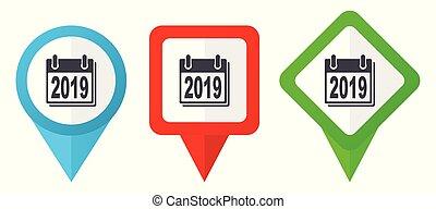 editar, ano novo, sinal, verde vermelho, ponteiros, marcadores, isolado, 2019, vetorial, fácil, jogo, azul, coloridos, localização, fundo, icons., branca