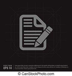 editar, documento, ícone