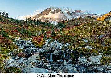 Edith Creek with Mt. Rainier in Fall