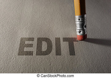 Closeup of a pencil erasing Edit text -- proofreading or editing concept