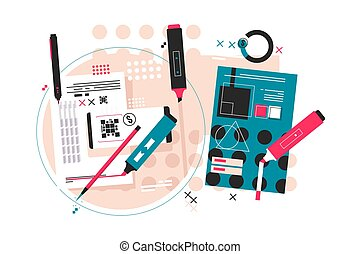 Editing of paper notes vector illustration. Process of redaction and proofreading of text flat style design. Preparing written material for publication concept