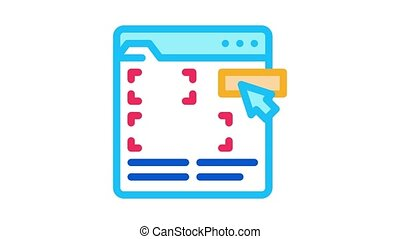 editing web site Icon Animation. color editing web site animated icon on white background