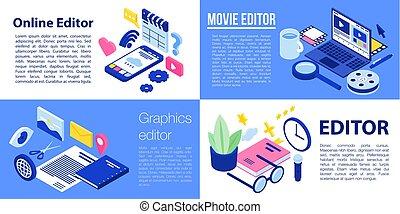 Editor banner set, isometric style - Editor banner set....