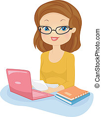 Editor Girl - Illustration of a Female Editor in Glasses...