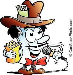 Editor Paper Reporter Mascot - Vector Cartoon illustration...