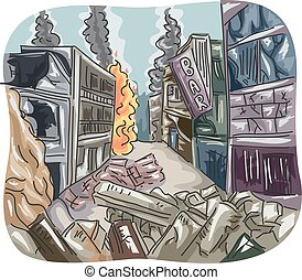 Editorial City Ruins War - Editorial Illustration Featuring...