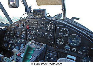Cockpit of Antonov An-2 plane