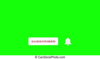 Editorial Footage: Animation of Subscribe and Notification Button for Youtube motion graphics. Green screen. Alpha Channel. Animation of Subscribe Button and bell notification