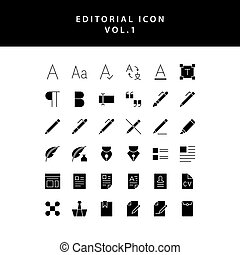 editorial glyph style icon set vol1