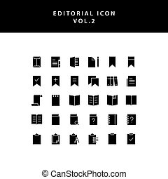 editorial glyph style icon set vol2