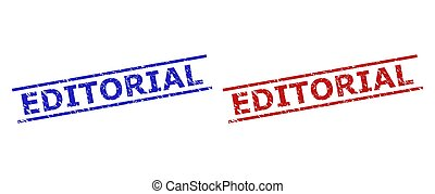 Blue and red EDITORIAL seals on a white background. Flat vector grunge seals with EDITORIAL message inside two parallel lines. Rubber imitations with unclean texture.