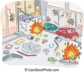 Editorial Street Riot Chaos - Editorial Illustration...