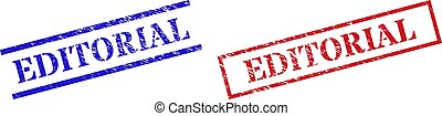 Grunge EDITORIAL rubber stamps in red and blue colors. Stamps have distress texture. Vector rubber imitations with EDITORIAL badge inside rectangle frame, or parallel lines.