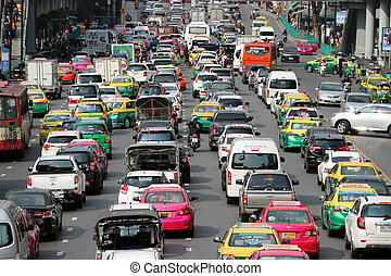 Editorial use only A Lots of cars in Ratchadamri road on front of Central world, Isetan are favorite big shopping mall, the street in rush hour traffic jam heaviest.