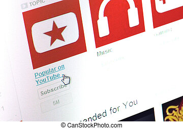 You Tube homepage - editorial You Tube homepage