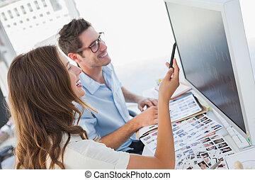 editors, εργαζόμενος , ιλαρός , φωτογραφία , ηλεκτρονικός υπολογιστής