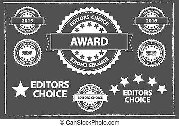 editors, emblemas, escolha