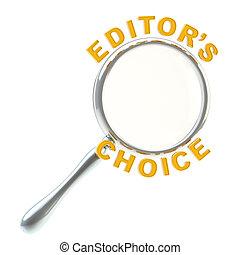 editor's, vergrootglas, onder, vrijstaand, keuze
