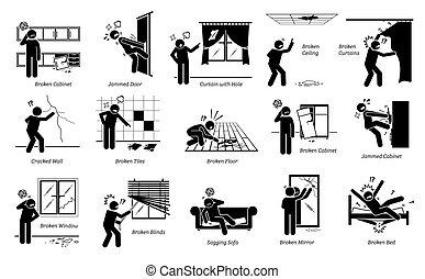 edizioni, pictogram, icons., casa, problemi, strutturale, figura bastone, difetti