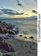 Edmonds beach at sunset on Puget Sound, Edmonds, Washington