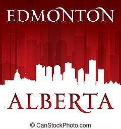 Edmonton Alberta Canada city skyline silhouette red background