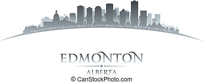 Edmonton Alberta Canada city skyline silhouette. Vector...