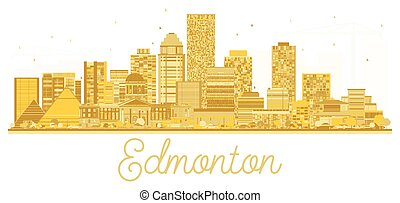 Edmonton Canada City skyline golden silhouette.