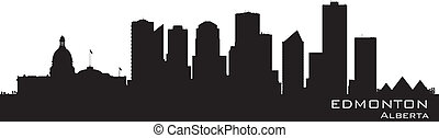Edmonton, Canada skyline. Detailed silhouette. Vector ...