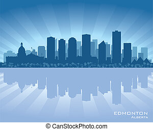 Edmonton, Canada skyline with reflection in water