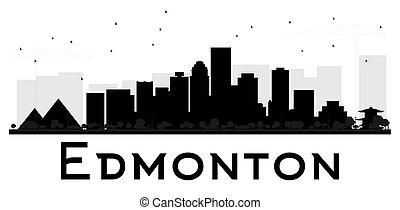 Edmonton City skyline black and white silhouette.
