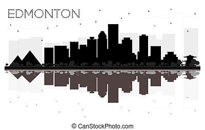 Edmonton City skyline black and white silhouette with reflections.