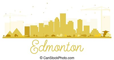 Edmonton City skyline golden silhouette.
