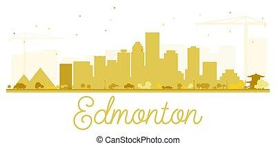 Edmonton City skyline golden silhouette.
