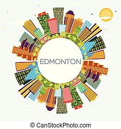 Edmonton City Skyline with Color Buildings, Blue Sky and Copy Space.