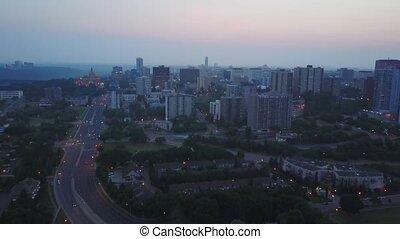 Edmonton downtown in Alberta, Canada - Above Edmonton...