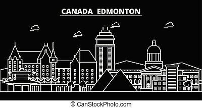 Edmonton silhouette skyline. Canada - Edmonton vector city, canadian linear architecture, buildings. Edmonton travel illustration, outline landmarks. Canada flat icon, canadian line banner