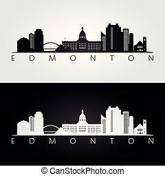 Edmonton skyline and landmarks silhouette