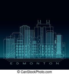 Edmonton skyline, detailed silhouette.