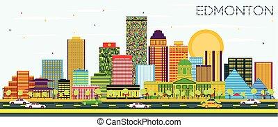 Edmonton Skyline with Color Buildings and Blue Sky.