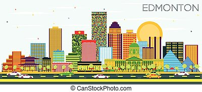 Edmonton Skyline with Color Buildings and Blue Sky.