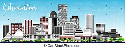 Edmonton Skyline with Gray Buildings and Blue Sky.