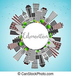 Edmonton Skyline with Gray Buildings, Blue Sky and Copy Space.