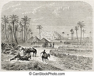 Edri oasis old illustration, Fezzan, Libia. Created by...