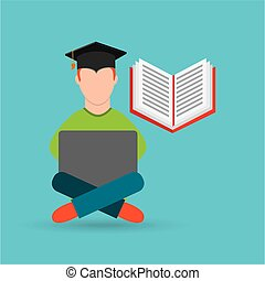 eduation online concept student e-learning school background
