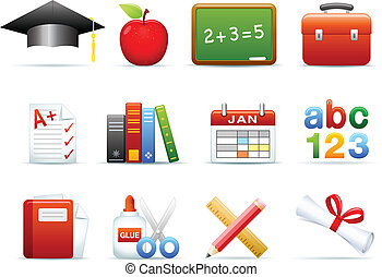 educação, ícones, jogo